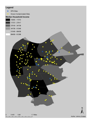 Figure 3. Camden's contaminated sites and Median Household Income